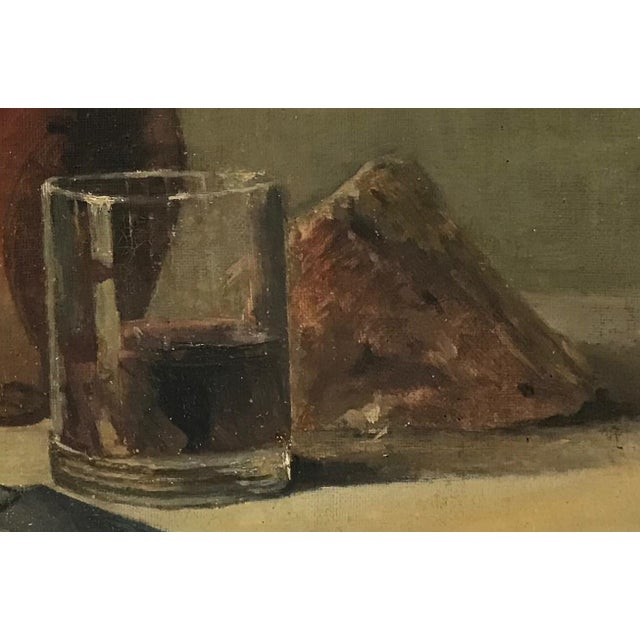 Early 20th Century 20th C. Wine and Cheese Still Life Painting For Sale - Image 5 of 10