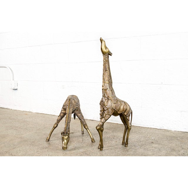 Large Mid Century Brass Giraffe Floor Statues For Sale - Image 11 of 11