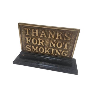 Vintage Brass No Smoking Sign Tabletop Double Sided Display Sign For Sale