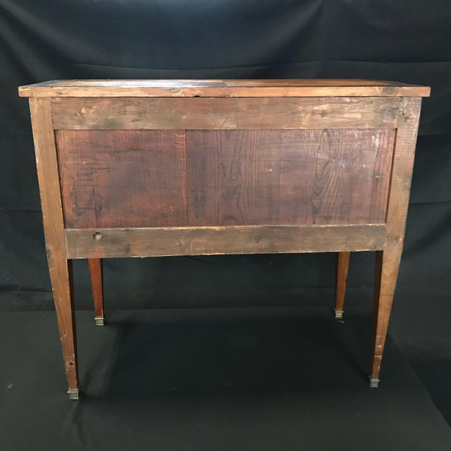 French Louis XVI Style Petite Marquetry Inlaid Two Drawer Commode For Sale - Image 12 of 13
