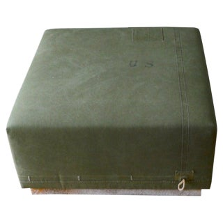 Ottoman Coffee Table Upholstered in Vintage Green Tent Canvas Atop Wood Base For Sale