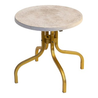 Round Side Table for Patio in Goldtone and Faux Stone For Sale