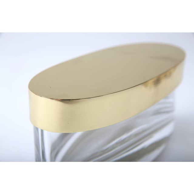 Metal Oval-Form Lidded Box in Crystal and Brass by Fontana Arte For Sale - Image 7 of 8