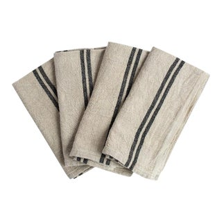 Caravan Collection by Couleur Nature - Khadhi Vintage Linen Natural & Black Stripe Dinner Napkins - Set of 4