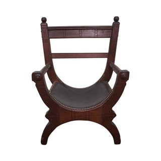 Walnut Leather X Frame Arm Chair For Sale