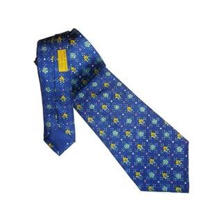 Vintage Hermes Silk Blue Flower Tie
