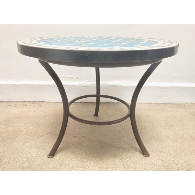 Moroccan Mosaic Outdoor Blue Tile Side Table on Low Iron Base For Sale In Los Angeles - Image 6 of 13