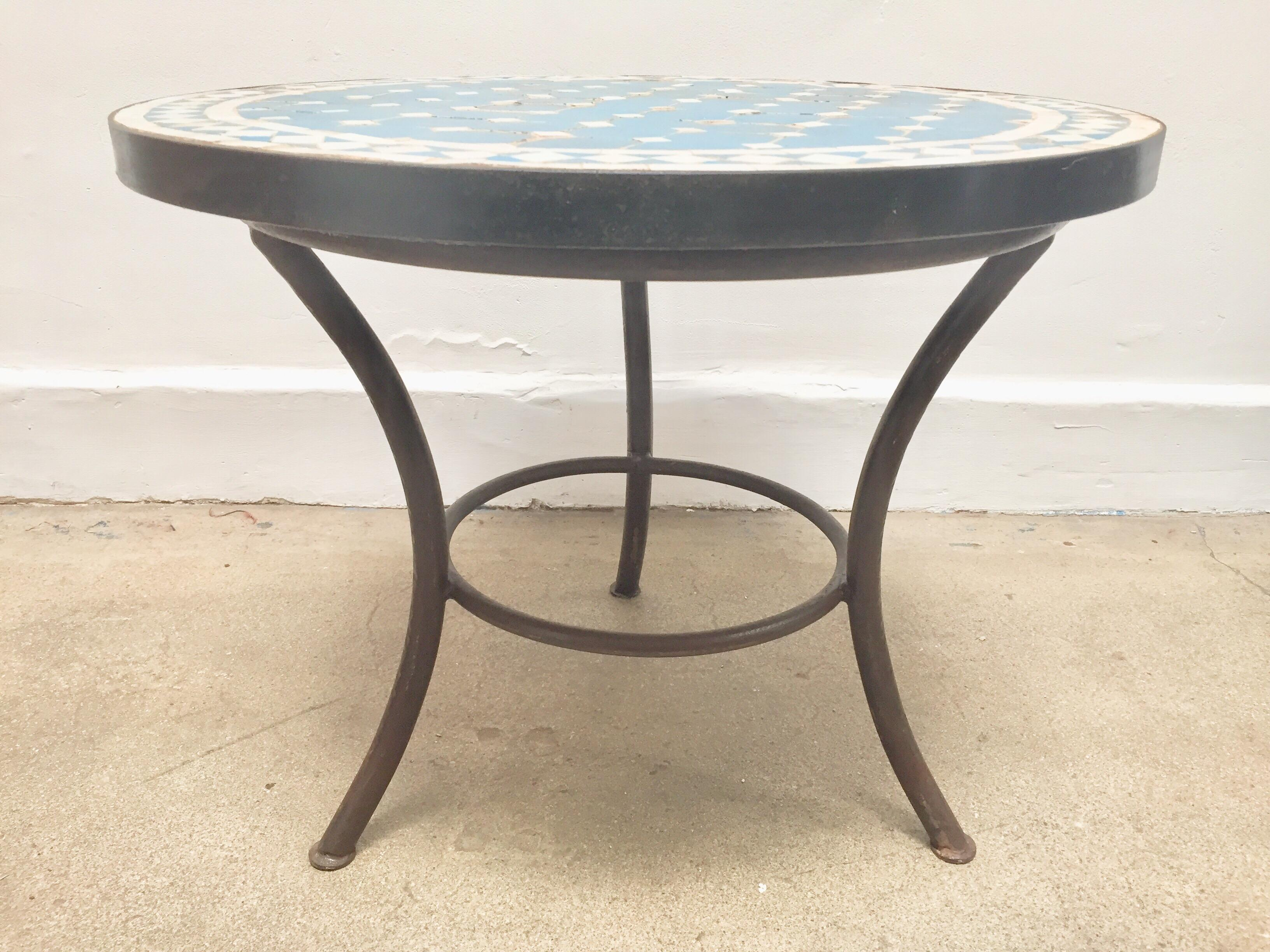 Moroccan Mosaic Outdoor Blue Tile Side Table On Low Iron Base For Sale In  Los Angeles