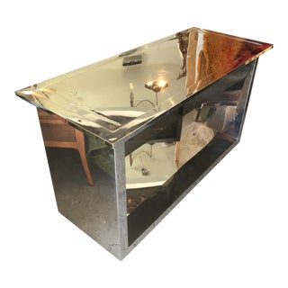 1980s Industrial Chrome Console Table For Sale