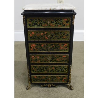 French Louis XIV Style Marble Top Brass Inlay Boulle Jewelry Chest Preview