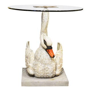 Early 20th Century Painted Iron Swan Glass Top Occasional Table