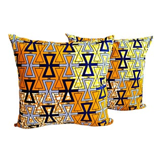 African Print Kismet Fabric Pillow Covers - a Pair For Sale