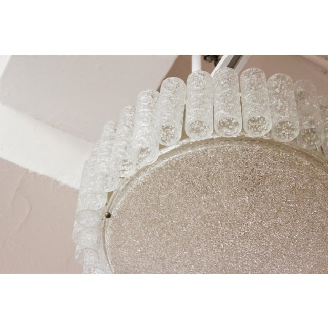 White Kalmar Mid-Century Modern Frosted Glass Circular Ceiling Light Pendant For Sale - Image 8 of 9