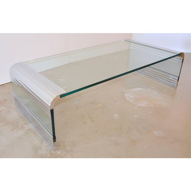Mid-Century Modern Large Chrome & Glass Leon Rosen Pace Collection Waterfall Cocktail Table 1970's For Sale - Image 3 of 11