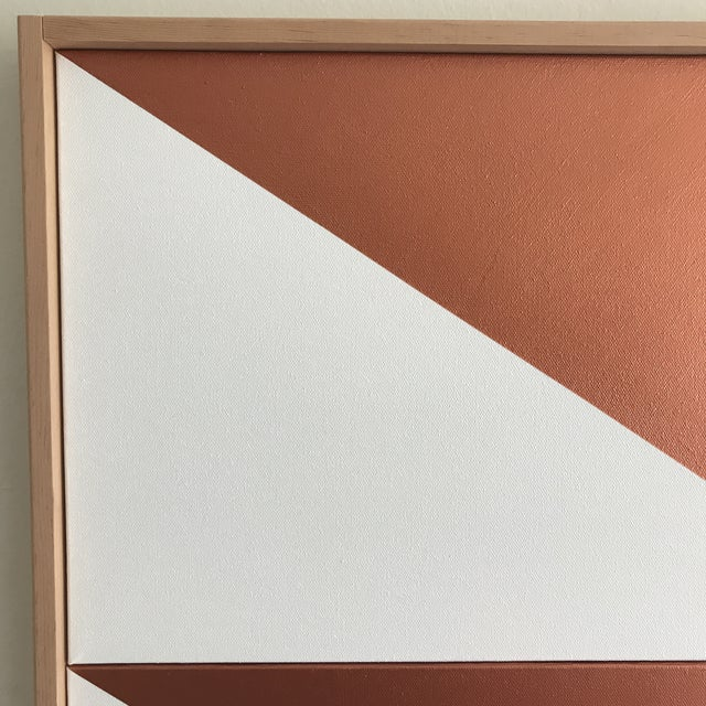 "Abstract Original Acrylic Painting ""Copper Arrow Down Triptych JET0508"" For Sale - Image 3 of 5"