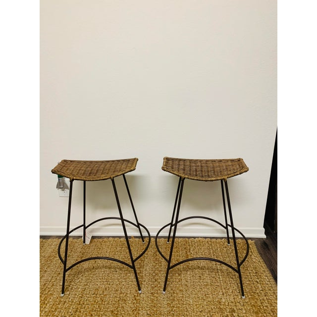 Mid-Century Modern Mid-Century Modern Wrought Iron and Wicker Bar Stools by Arthur Umanoff - a Pair For Sale - Image 3 of 9