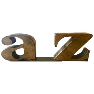 Pair of C. Jere Gilt A-Z Bookends 1971 For Sale