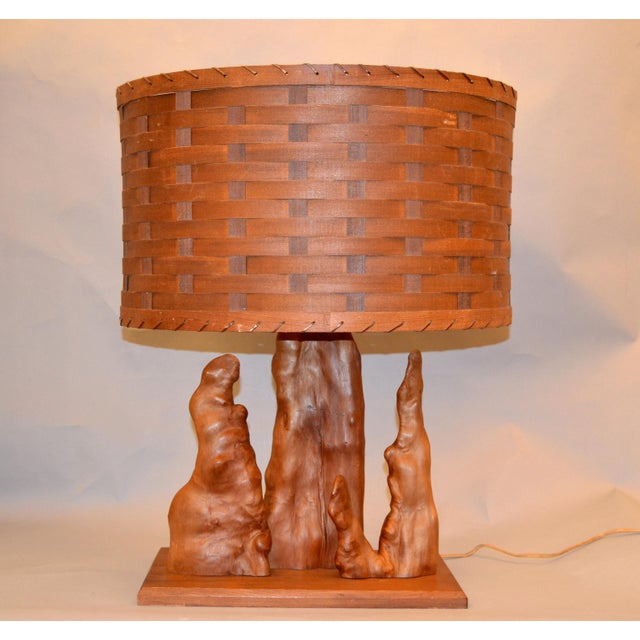 Organic Modern Sculptural Driftwood Table Lamp & Woven Basket Shade Walnut Base For Sale - Image 10 of 10