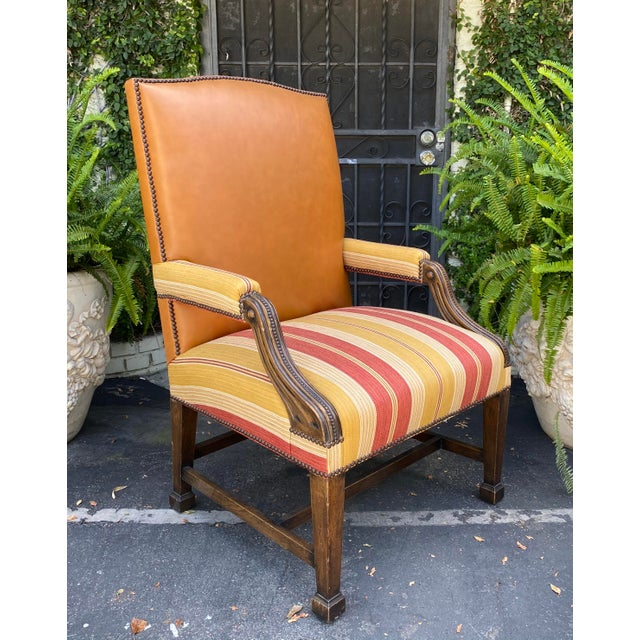 Antique Mahogany Leather Desk Chair W Linen Stripe Seat For Sale In Los Angeles - Image 6 of 6