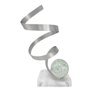 Aluminum Ribbon Sculpture With Bubbled Lucite Orb For Sale