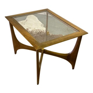 Mid Century Modern Walnut & Glass End Table For Sale