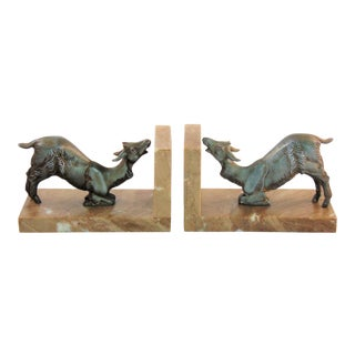 Antique French Goat Bookends - a Pair For Sale