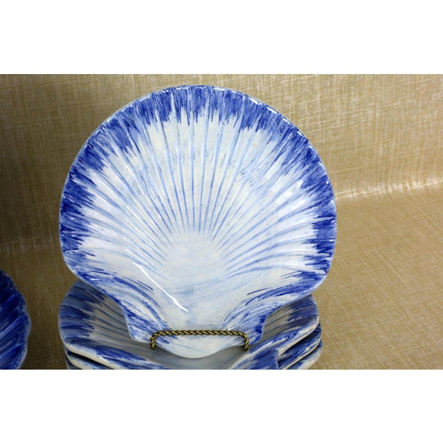 1980s Collection of Made in Portugal Blue and White Shell Pottery - Set of 8 For Sale - Image 5 of 13
