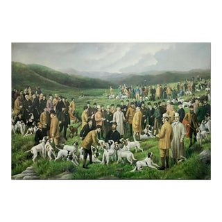 Vintage People & Dogs Painting on Canvas For Sale