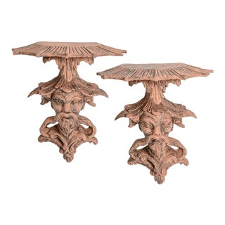 Italian Chinoiserie Terra Cotta Wall Sconces, Brackets - a Pair For Sale