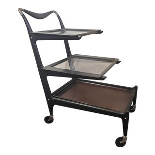 1950s Italian Modern Tea Trolly Bar Cart by Cesare Lacca For Sale