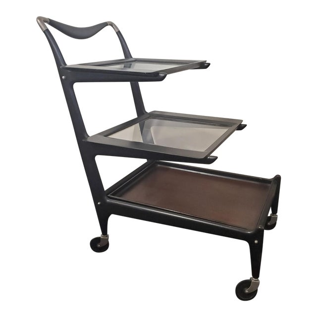 1950s Italian Modern Tea Trolly Bar Cart by Cesare Lacca For Sale