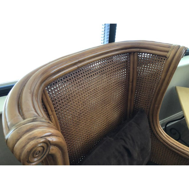 Chocolate Lane Venture Cane Back Wing Chair & Ottoman For Sale - Image 8 of 8