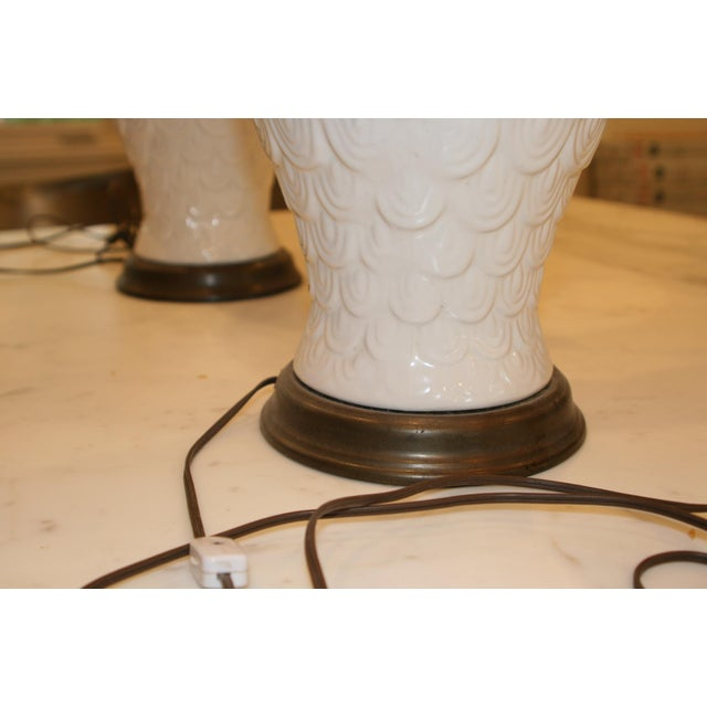 Vintage Fish Scale Table Lamps - A Pair - Image 5 of 5