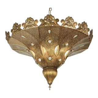Moroccan Polished Gold Brass Chandelier For Sale