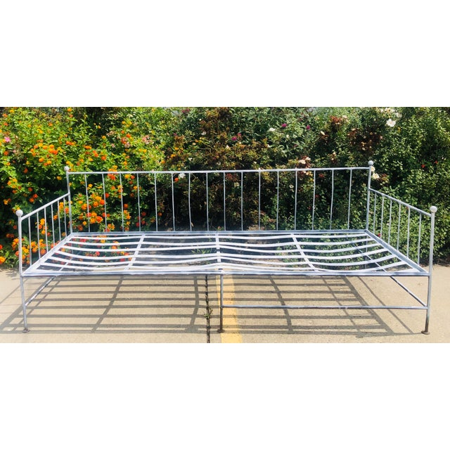 Fantastic Vintage Iron Day Bed, Painted White. Fabulous on a deck, porch, patio, terrace or sunroom. Great patina as is...