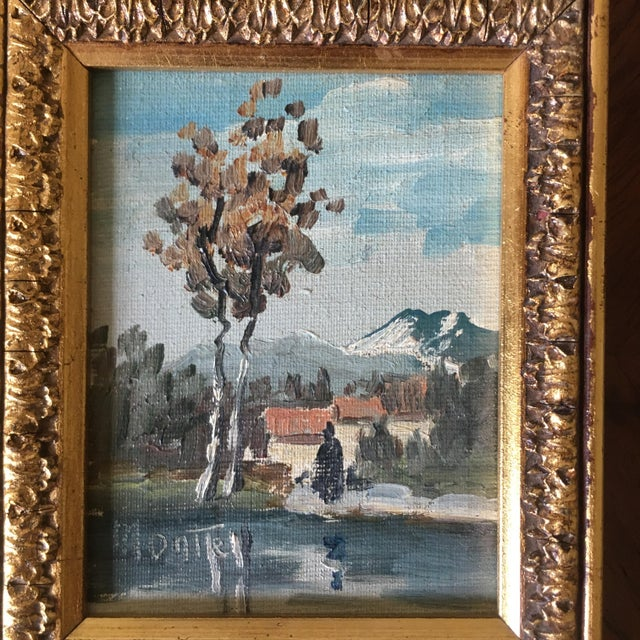 A charming mid-20th century miniature Italian landscape oil painting. Lovely colors and a nice gold wooden frame.