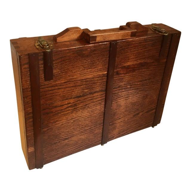 Folk Art Wooden Attache Briefcase Art Case For Sale