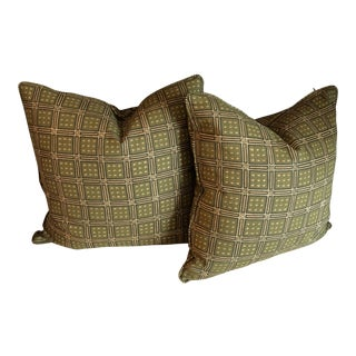 Michael Smith - Rockingham Hunter Green Square Plaid Pattern - a Pair No Insert For Sale