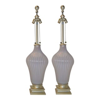 Pair of Blush Pink Murano Glass Marbro Lamps, 1960s For Sale