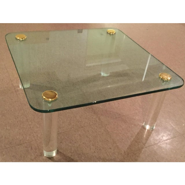 1970s 1970s Glass and Brass Table For Sale - Image 5 of 8