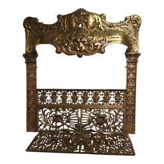 Cast Brass Lion Head Fireplace Front Screen For Sale