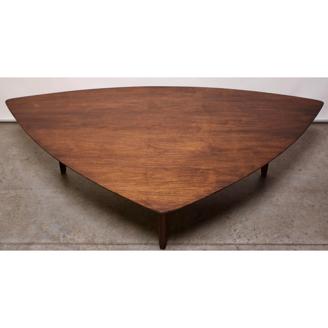 1960s Mid Century Modern Erwin Lambeth Triangle Walnut Coffee