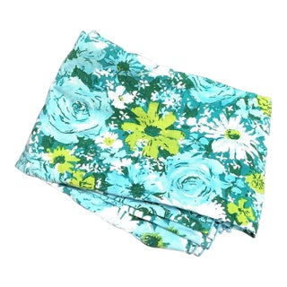 1960s Blue Floral Tablecloth For Sale