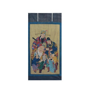 Chinese Large Vintage Canvas Color Ink SanXing (Fu Lu Shou) Painting Art