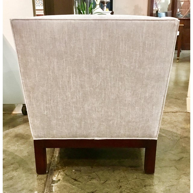 Modern Hickory Chair Co. Modern Gray Chennile Slipper Chair For Sale - Image 3 of 7