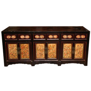 Antique Chinese Black Painted Gansu Sideboard With Hand-Painted Floral Motifs For Sale