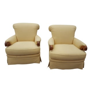 Large Roll Back Upholstered Chairs - A Pair For Sale