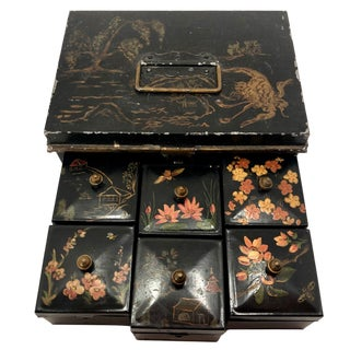 Tole Painted Asian-Themed Antique Tin Spice Box With Six Canisters - 7 Pieces For Sale