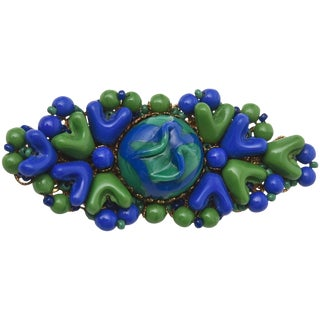 Vintage MIriam Haskell Resin/ Bead Brooch/ Pin, Signed For Sale