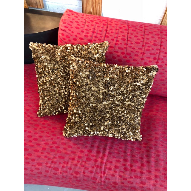Contemporary Bougainvillea Brown and Copper Sequin Pillows - a Pair For Sale In Charleston - Image 6 of 6